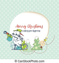 hóember, furcsa, hely, szöveg, keret, kártya, mond ajándék, karácsony