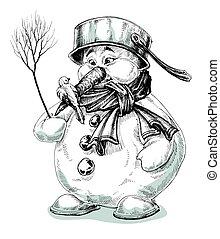 hóember, furcsa, rajz, elszigetelt, karikatúra