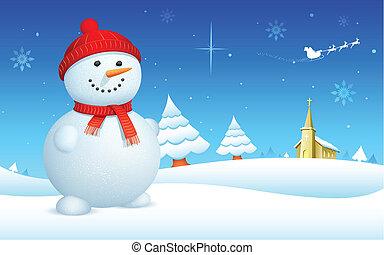 hóember, képben látható, karácsony, éjszaka
