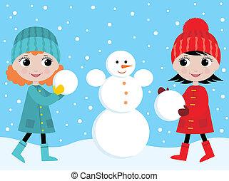 hóember, kicsi lány, épít