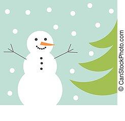 hóember, tél, kártya