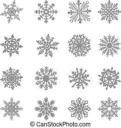 hópehely, vektor, csillag, fehér, jelkép, grafikus,...