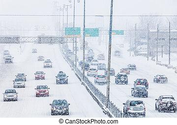 hóvihar, képben látható, a, autóút, közben, a, csúcsforgalom