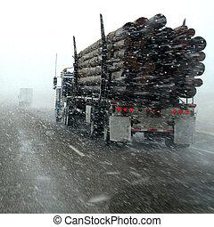 hóvihar,  semi, hó, vezetés, lefelé, csereüzlet, megrohamoz, Közben, autóút