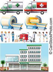 hôpital, éléments, monde médical