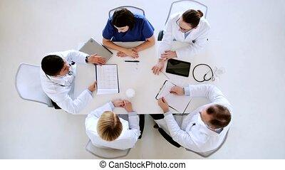 hôpital, applaudir, groupe, médecins