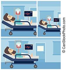 hôpital, bed., mensonge, homme
