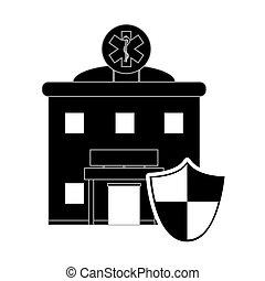 hôpital, bouclier, icône