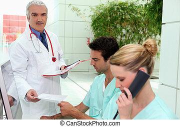 hôpital, bureau réception