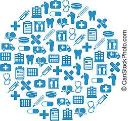 hôpital, cercle, icônes