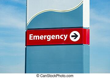 hôpital, chambre d'urgence, signe