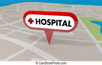 hôpital, chambre d'urgence, soin urgent, clinique, goupille carte, 3d, illustration