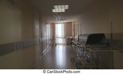 hôpital, effet, indisposé, visuel, hallucinations, sentiment, corridor.