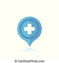 hôpital, emplacement, marqueur