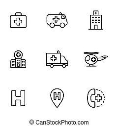 hôpital, ensemble, fond blanc, icônes