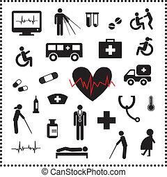 hôpital, ensemble, icônes