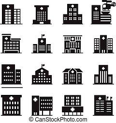 hôpital, ensemble, silhouette, icône