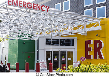 hôpital, entrée, signage