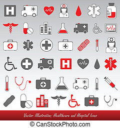 hôpital, et, healthcare, icônes
