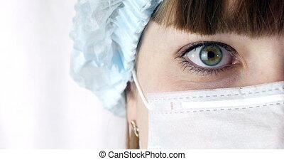 hôpital, grand plan, ou, docteur, opération, femme, masque, yeux, chirurgien, clinic., docteur, prêt, portrait