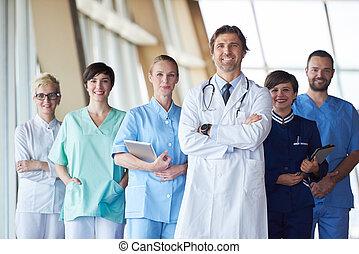 hôpital, groupe, docteur, équipe soignant, devant, personnel, beau