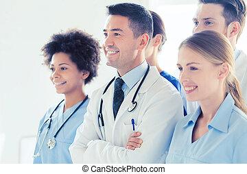 hôpital, heureux, groupe, médecins