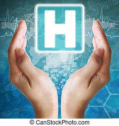 hôpital, icône, dans, hand;, monde médical, fond