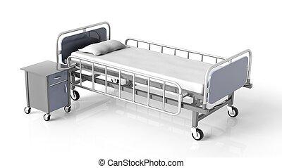 hôpital, isolé, lit, chevet, fond, blanc, table