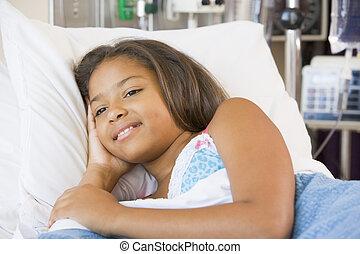 hôpital, jeune, enrobez bas, girl, mensonge
