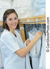 hôpital, lessive, personnel