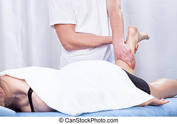 hôpital, masage, jambe