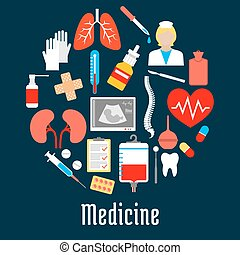 hôpital, monde médical, cercle, forme, icônes