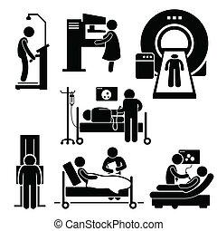 hôpital, monde médical, vérification, diagnostic