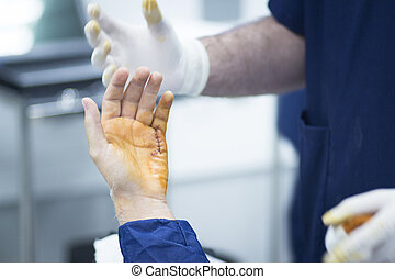 hôpital, orthopédie, chirurgie, opération, main