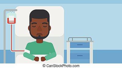 hôpital, patient, bed., mensonge