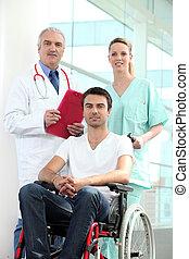 hôpital, patient, fauteuil roulant
