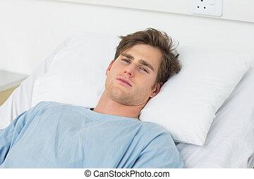 hôpital, patient, mensonge, lit