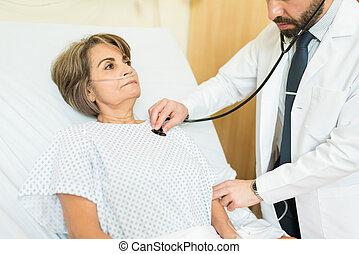 hôpital, patient, personnes agées, docteur, examiner