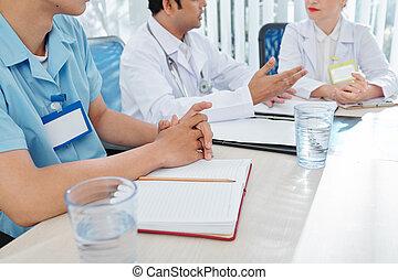 hôpital, réunion, ouvriers