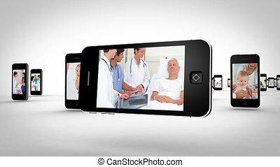 hôpital, smartphones, vidéos