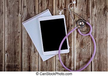 hôpital, stéthoscope, numérique, marbre, table, tablette, monde médical, informatique, bureau