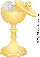 hôte, communion, tasse