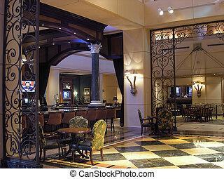 hôtel, 2, luxe, restaurant