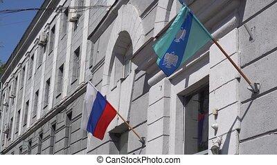 hôtel, bâtiment, battement des gouvernes, deux, drapeaux