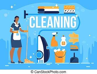 hôtel, bannière, vecteur, plat, salle, nettoyage, service