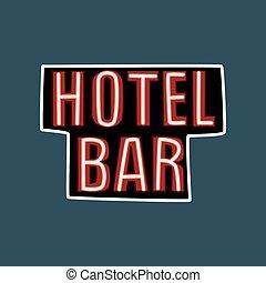 hôtel, barre, enseigne, néon, rue, illustration, vecteur, retro, vendange, bannière