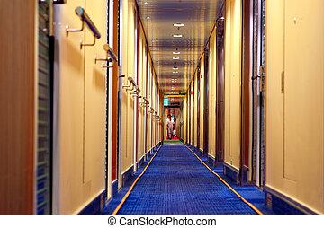 hôtel, brouillé, couloir, gens