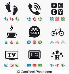 hôtel, café, appartement, signe., icons., services