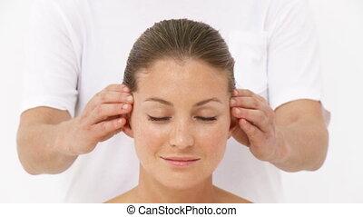hôtel, centre, réception, loisir, massage tête, femme