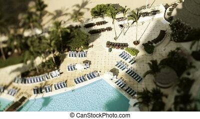 hôtel, chronocinématographie, natation, coup, plancher, mexique, élevé, luxe, balcon, piscine, acapulco